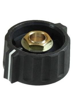 Short wing knob. black, mat finish, with line